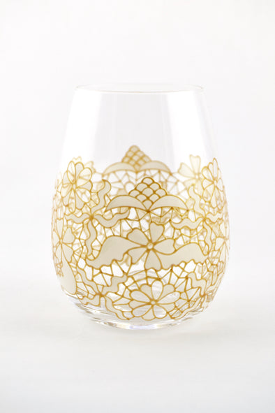 White Lace Stemless Wine Glass (3 sizes)