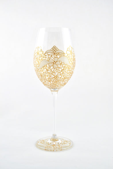 White Lace Wine Glass