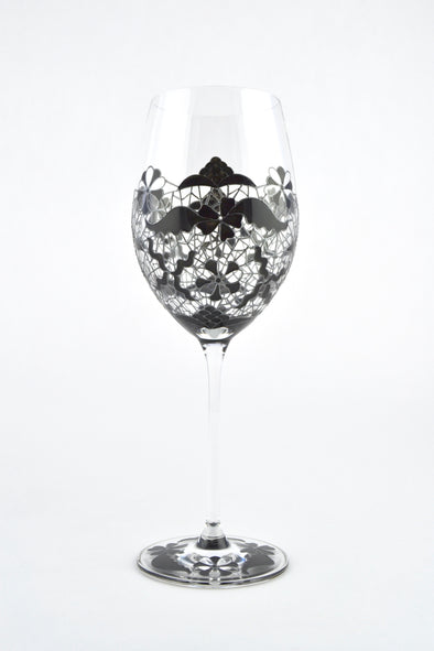 Black Lace Wine Glass