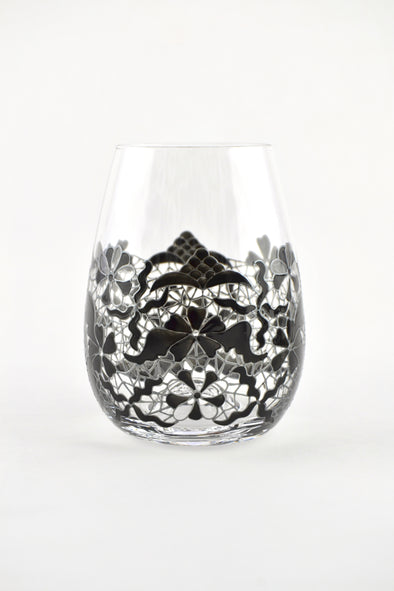 Black Lace Stemless Glasses (3 sizes)