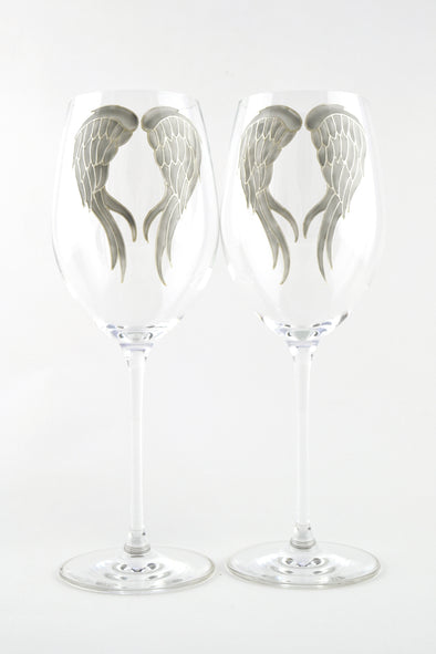 Angel Wings Long Stem Wine Glass (grey/pearl)