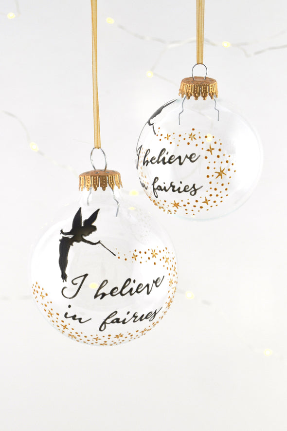 I Believe in Fairies Bauble (gold)