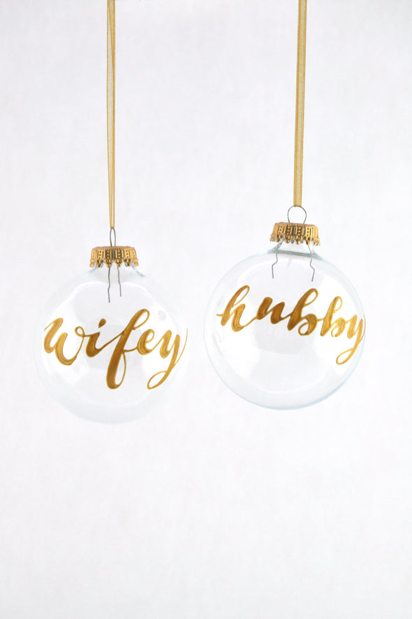 Wifey/Hubby Bauble (clear)