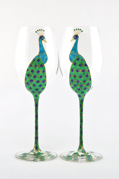 Peacock Long Stem Wine Glass