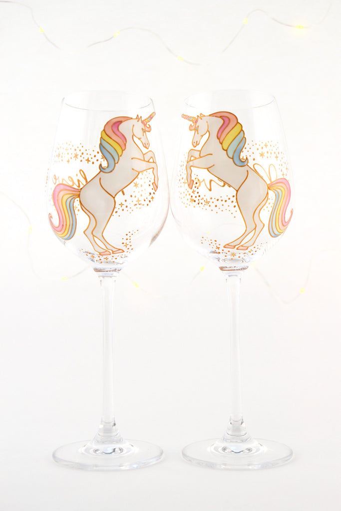 Short Tail Unicorn Wine Glass