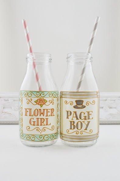 Flower Girl/Page Boy Mini Milk Bottle