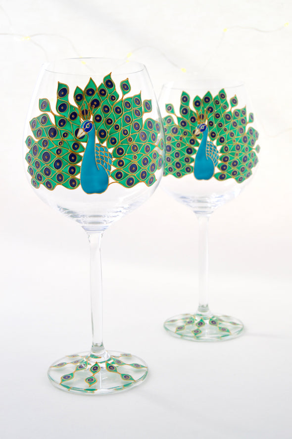 Peacock Wine Goblets