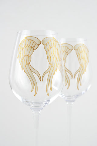 Angel Wings Long Stem WIne Glass (ivory/gold)
