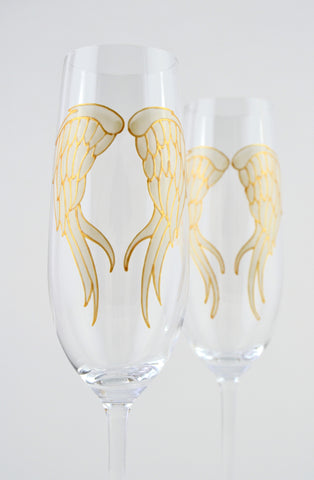 Angel Wings Champagne Flute (ivory/gold)