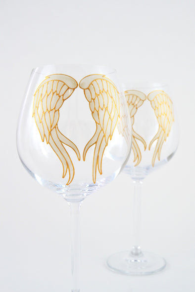 Angel Wings Large Wine Goblet (ivory/gold)