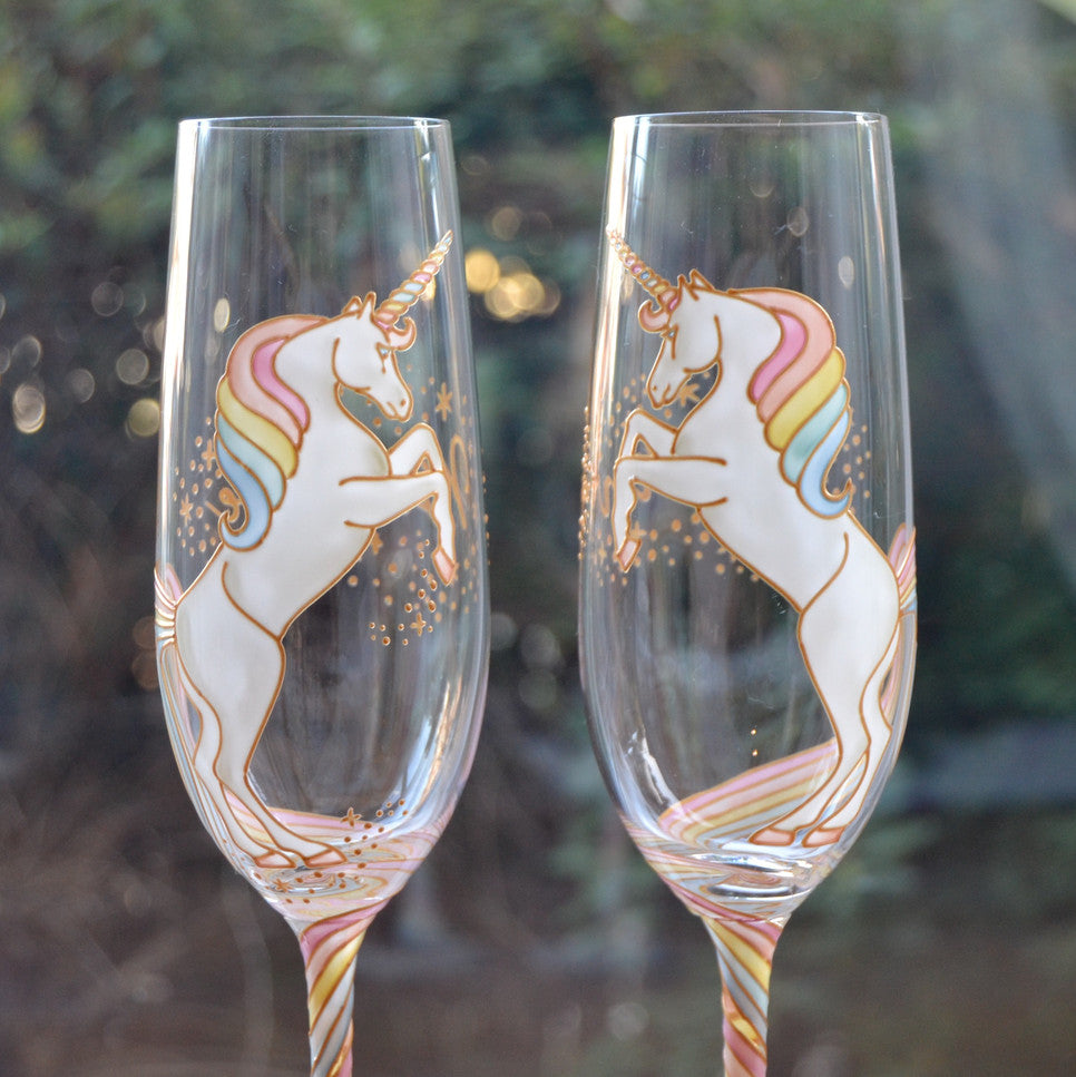 Long Tail Unicorn Champagne Flute