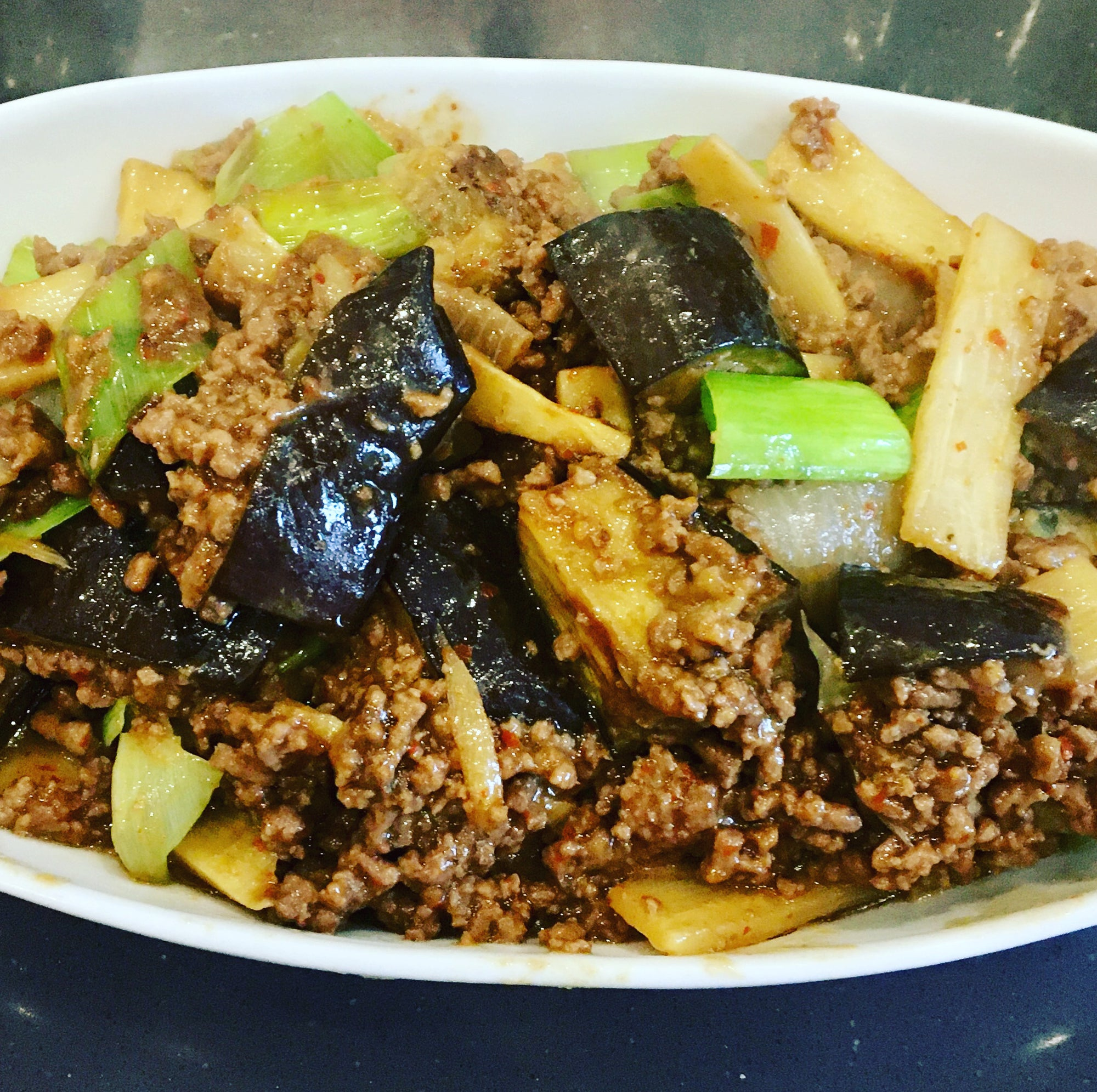 Mince & Aubergine in Chilli & Garlic Sauce.