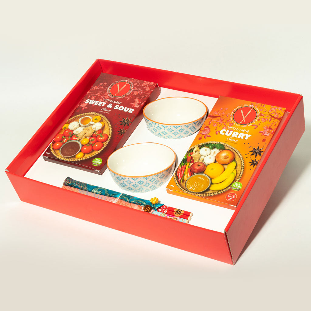 Vi Rice Bowl & Chopstick Gift Set- Blue/Orange design
