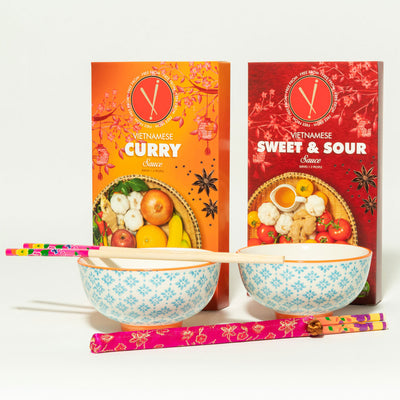 Vi Dinner Gift Set- Blue/Orange design