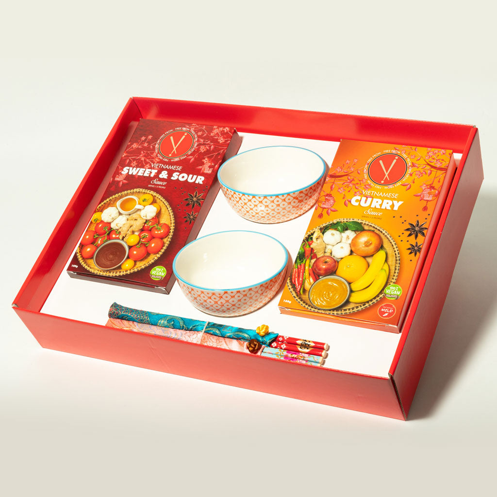 Vi Rice Bowl & Chopstick Gift Set- Orange/Blue design