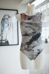 Marble pleated swimsuit