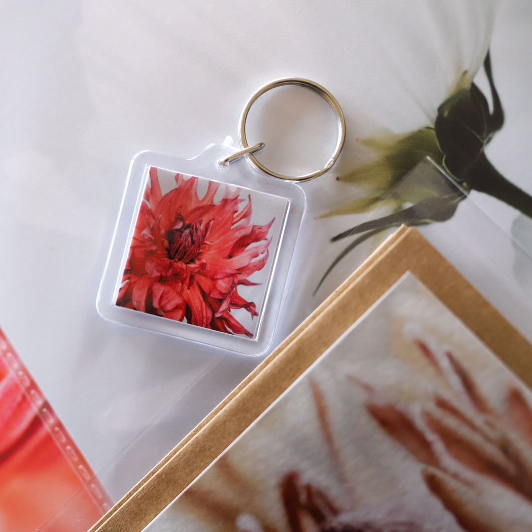 Dahlia Fire Key Ring