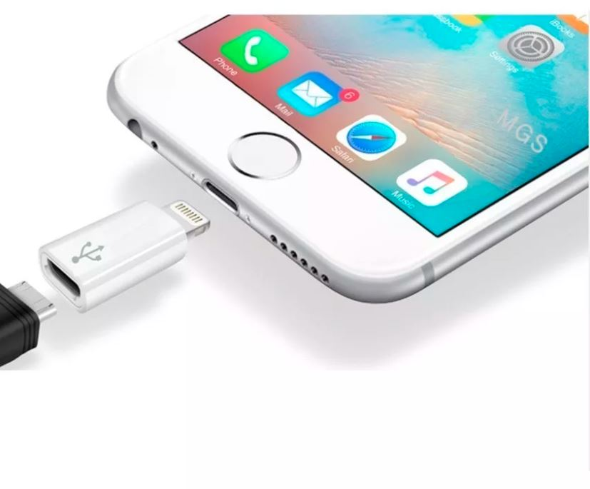 Adaptador de micro USB V8 a conector lightning iPhone