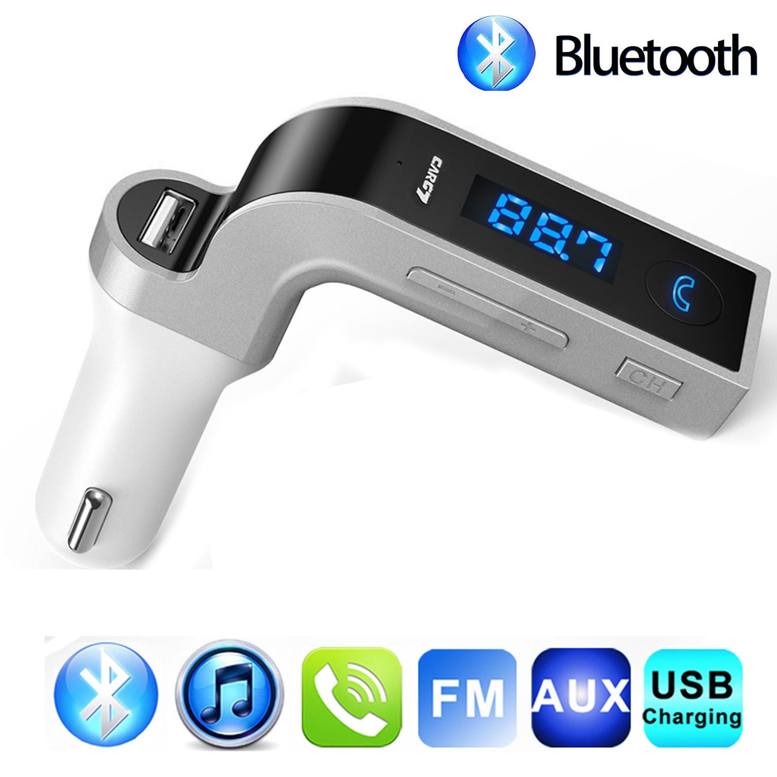 Adaptador para radio via FM con función bluetooth, USB, micro SD y AUX - CAR G7