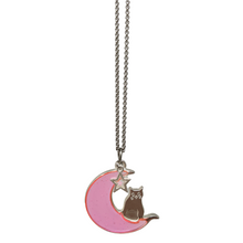 Load image into Gallery viewer, Handmade Neon Jelly Cat on the Moon Necklace ☾ - taylorsprinkle.com