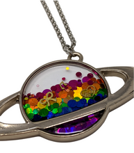 Load image into Gallery viewer, Handmade Rainbow Holo Planet Necklace - taylorsprinkle.com