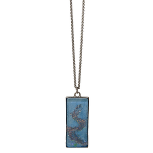 Handmade Spring Pastel Holographic Swirl Rectangle Necklace ❀ - taylorsprinkle.com