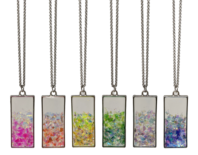 Handmade Crystal Flake Rectangle Necklace - taylorsprinkle.com