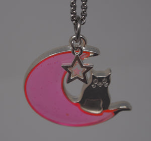 Handmade Neon Jelly Cat on the Moon Necklace ☾ - taylorsprinkle.com