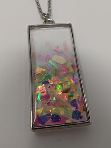 Handmade Ice Crystal Flake Rectangle Necklace - taylorsprinkle.com