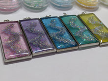 Load image into Gallery viewer, Handmade Spring Pastel Holographic Swirl Rectangle Necklace ❀ - taylorsprinkle.com
