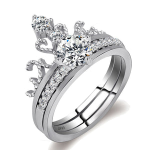 Princess Style Sterling Silver Crown Ring Set ♡ - taylorsprinkle.com