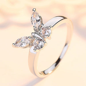 Butterfly Shining Crystal Ring ♡ - taylorsprinkle.com