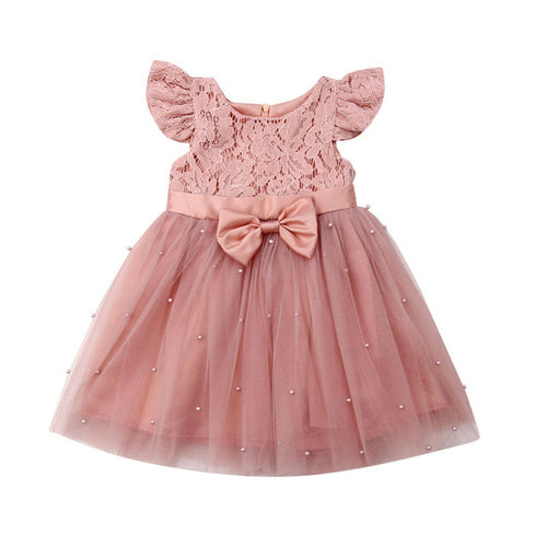 Princess Girls Lace Tulle Pink Pearl Dress - taylorsprinkle.com