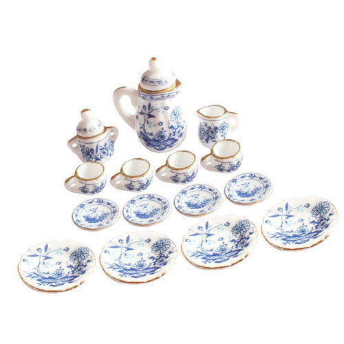 Dollhouse Miniature Blue Floral Ceramic Tea Set 15 pcs ♡ - taylorsprinkle.com