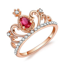 Load image into Gallery viewer, Queen Crystal Crown Ring Purple Pink Silver ♡ - taylorsprinkle.com