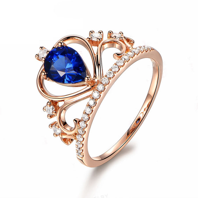 1 Carat Pear Cut Sterling Silver Rose Gold Plated Blue Crown Heart Ring ♡ - taylorsprinkle.com