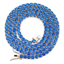Load image into Gallery viewer, 4mm Round Cut Blue Tennis Necklace ♡ - taylorsprinkle.com