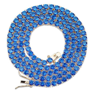 4mm Round Cut Blue Tennis Necklace ♡ - taylorsprinkle.com