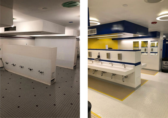 Before and After - Newark Airport Bathrooms Makeover with water-based coating