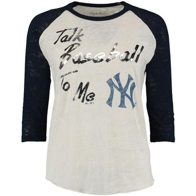 Scranton/Wilkes-Barre RailRiders Majestic Threads Women's Yankees Cream Raglan T-Shirt
