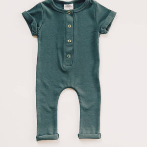 Ribbed Henley Romper - Deep Sea