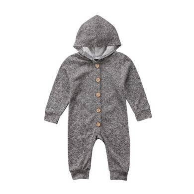 NZ | Grey Ash Long Sleeve Hooded Jumpsuit