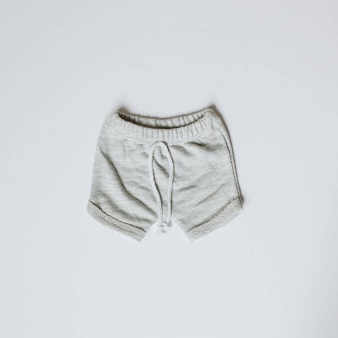 Curved Hem Harem Shorts - Heather Grey