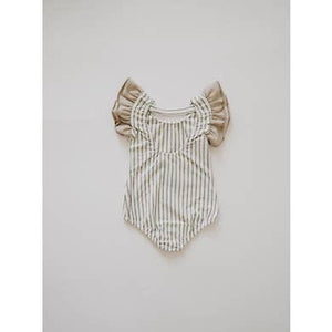 Flutter Sleeve Leo - Gray Stripe Leotard