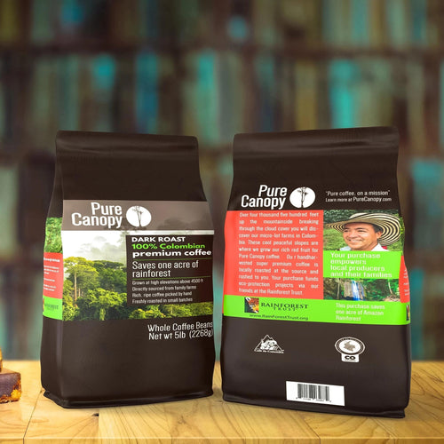 Pure Canopy - Dark Roast Coffee - 5lb Bag - Whole Bean