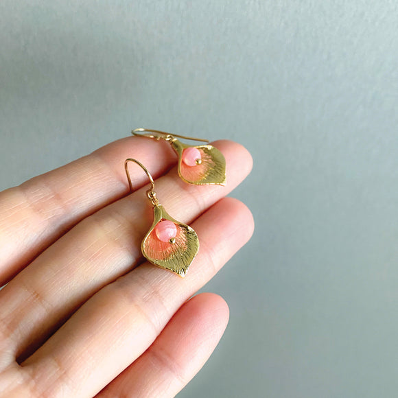 Gold Calla Lily Earrings | Rhodochrosite