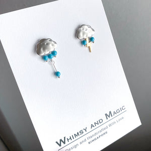 Petite Rain Clouds Earrings (Silver)