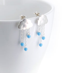 Petite Rain Clouds Earrings with Chains (Silver)