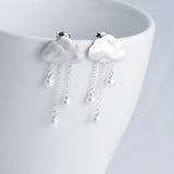 Rain Clouds Earrings with chains (Silver)