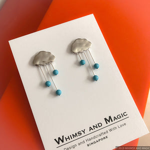 Rain Clouds Earrings (Silver) with Blue Pearls